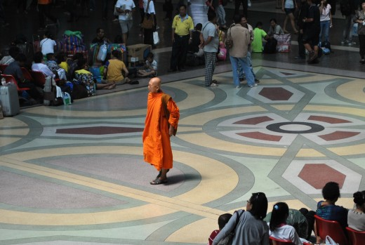 This serene monk captures the essence of our journey south.