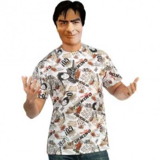 Check out this Charlie Sheen costume shown below which comes with a great shirt and face mask.