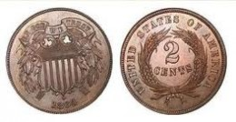 The two-cent coin was only produced for 10 years, 1864-1873.