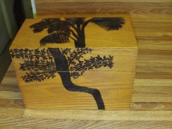 Wood Burning Palm Tree Silhouettes On A Wood Box