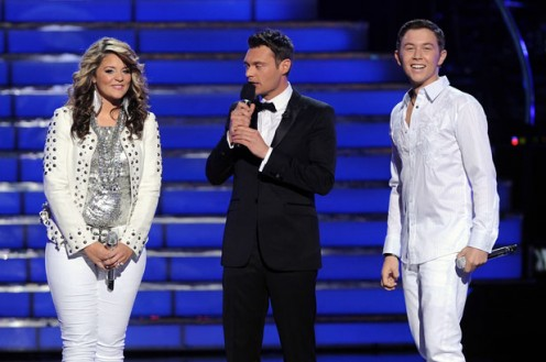 Ryan Seacrest with American Idol Season 10 winner Scotty McCreery and runner-up Lauren Alaina.