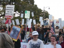 Protesters against Berkeley City Council motion.
