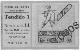 Ernest Hemingway Ticket Stub for Bullfight