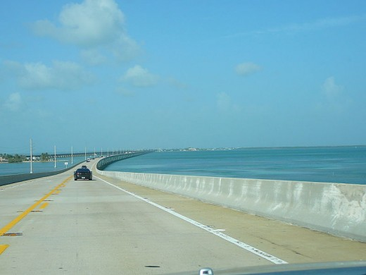 Here is the Seven Mile Bridge on the Overseas Highway going down the Florida Keys.