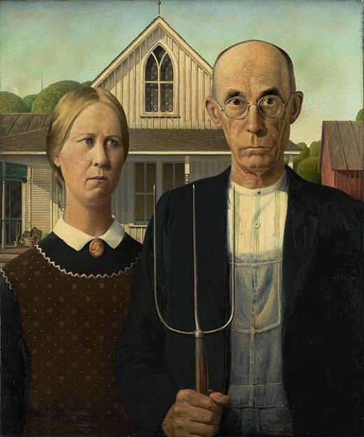 This is one of the digitized images of the original painting American Gothic that Grant DeVolson Wood, a master artist of the twentieth century, created in 1930 and sold to the Art Institute of Chicago in November of the same year.