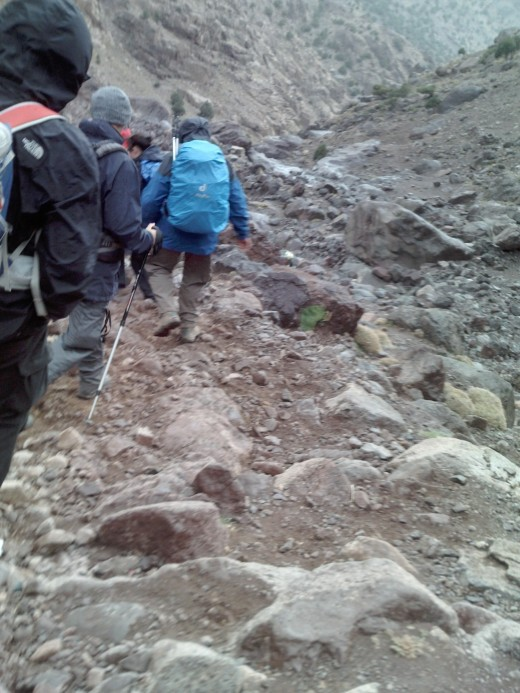 Heading to to the summit of Jebel Toubkal from the Refuge du Toubkal