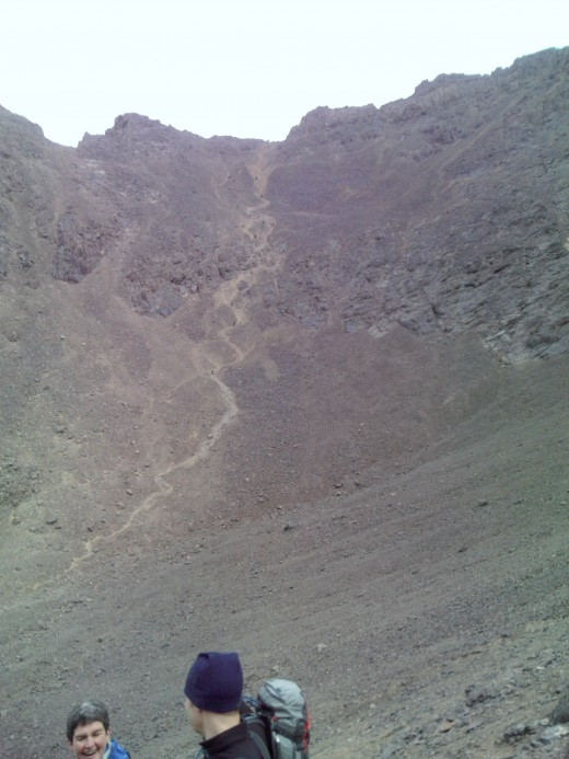 Fancy some scree running down from the top ridge of Toubkal? See if you can spot the people running down!