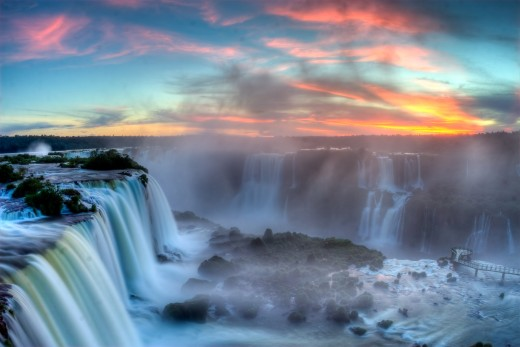 Sunset over Iguazu Falls - Where the Clouds Are Born