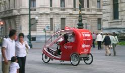 Txirrintxi (three-wheel touristic taxi for two passengers), in Bilbao.
