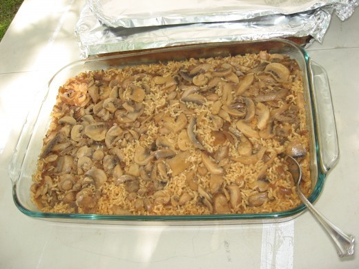 My daughters always bring dishes to our Thanksgiving dinner, like this rice and mushroom casserole.