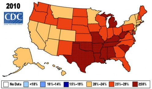 ADULT OBESITY TODAY. ... Per Cent Obese Adults In USA In 2010. ...  Map by Centers For Disease Control And Prevention