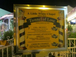 "The ""Menu"" for driving thru the ""Tunnel Of Love."" Sorry, but you can't have fries with that."