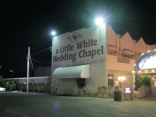 "Side view of the ""Little White Wedding Chapel."""