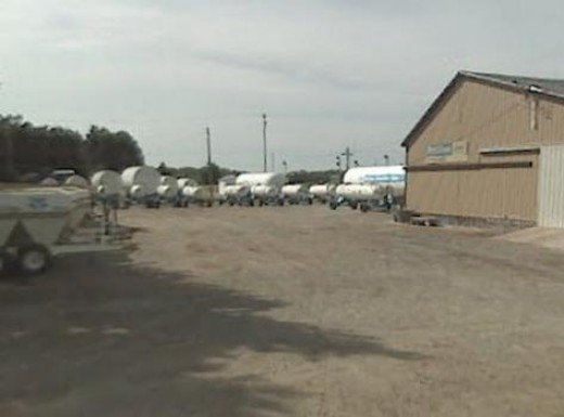 A few miles south of Wichita, a farm products dealer stores fertilizer delivery equipment. The tank trailers are designed to transport pressurized anhydrous ammonia. Places such as these are targets for meth cookers.