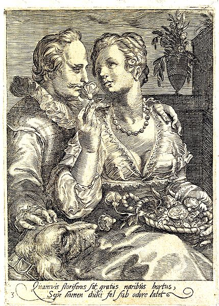 """One of Jan Saenredam's neat engravings, this one is """"smell""""."""