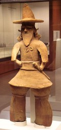 A haniwa clan chieftain from around 500 AD discovered in Ibaraki prefecture, Japan on display at the British Museum.