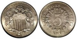 "This is the first type ""Rays"" produced for the 1866 and 1867 Shield Nickel."