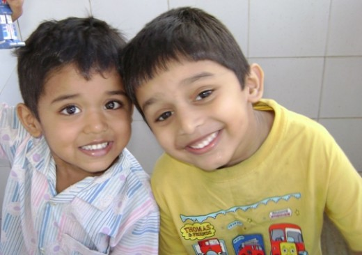 My son Dev(one in yellow)  with his cousin