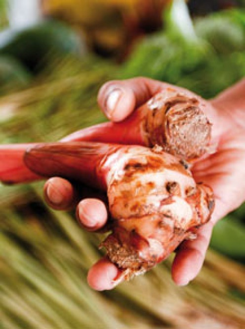galangal, which smells flower and gingery, is terrific in this dish, but ginger may be substituted