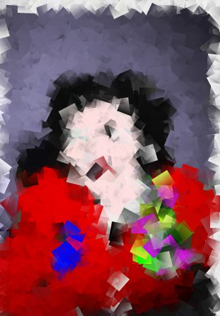The Picasso filter creates a 'Cubism' effect which is really fun. It completely distorts the image, but you can still see a face and mouth. The bright colors of the jacket and the corsage really pop cubed!