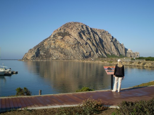 Morro Rock from the town of Morro Bay, California.