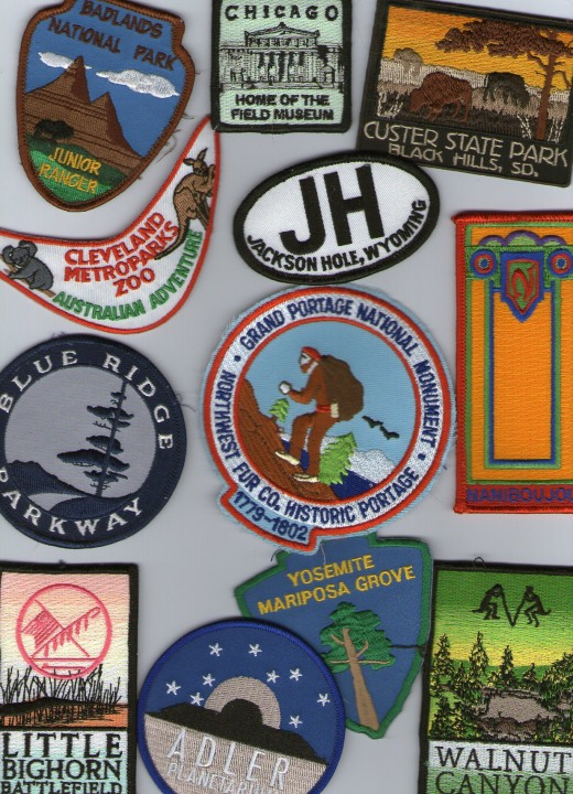Patches from Chicago's Field Museum & Adler Planetarium, Virginia's Blue Ridge Parkway, Little Bighorn, Yosemite's Mariposa Grove and Arizona's Walnut Canyon.