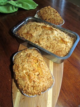 The finished product; one large pan or 2-3 small loaf pans per batch.