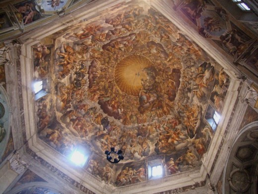 Cupola of church of Santa Maria del Quartiere, Parma, Italy; fresco by Pier Antonio Bernabei