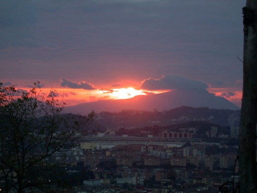 Sunset over Naples and Ischia