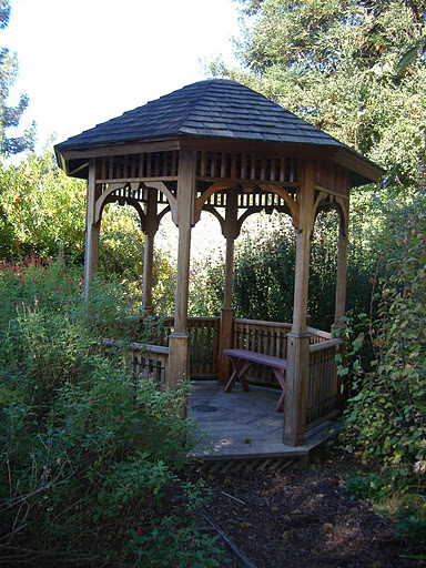 The entrance to the Gazebo. The gazebo is now finished but the top still needed fixtures when this photo was taken. Subject:Shinn Park in Fremont California