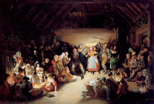 Snap Apple Night, by Irish artist Daniel Maclise, 1833. Shows a Halloween party where people are bobbing for apples in Blarney, Ireland.
