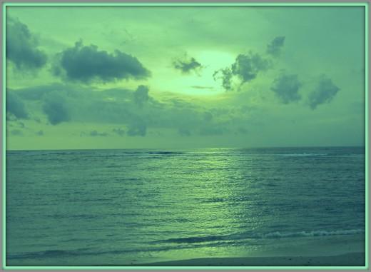 Sunset goes over Senggigi Area.