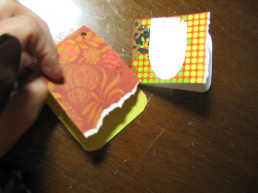 Step 10 Tag:  Make a tag by cutting leftover paper in a rectangle and folding in half.  tear along one edge of the tag for a contemporary look.  Punch a hole and make a cut through the hole so you can slip it on a ribbon.