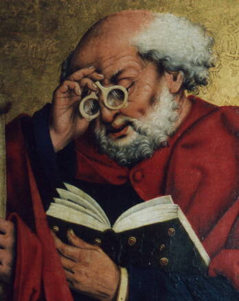 """Picture of St. Peter using """"eyeglasses"""" to read. Dates back to 1466 and this is an altarpiece that appears in St. Jakob church in Rothenburg."""