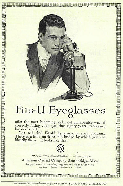 Advertisement for eyeglasses dating back to 1913 by American Optical Company in Massachusetts.