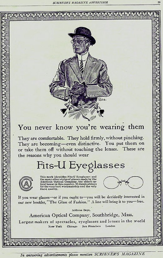 Advertisement for eyeglasses dating back to 1913 by American Optical Company.