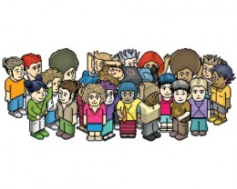Here are a group of pixel game characters from the online chat game, Habbo Hotel. ( www.habbohotel.com )