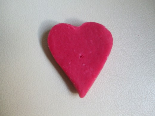 Heart cut out of playdough