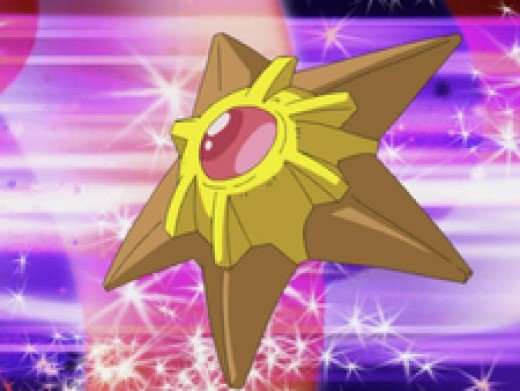 Water-type Pokémon (like Staryu) are  tough against fire and rock-types, but weak against electric and grass-types.