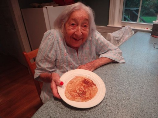 Even a pancake can be a tasty snack for my Mom. I'm lucky that she's so easy!