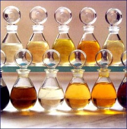 Sweet almond oil and other natural oils.