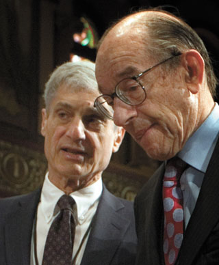"Rubin and Greenspan...  ""So... what did your friend Ayn Rand say again about the virtue of selfishness?"""