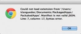 Manifest syntax error