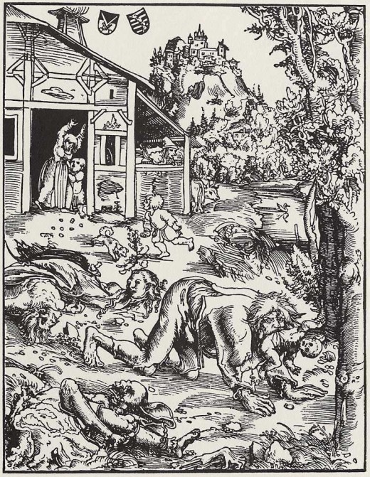 Woodcut illustration of a werewolf, c. 1512