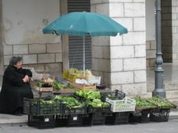 Vegetable market in Isernia, Italy.