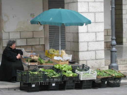 Vegetable market in Isernia, Italy.