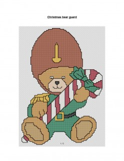 free cross stitch pattern Soldier Teddy Bear