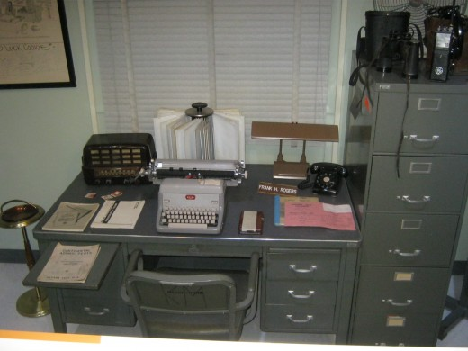 An example of a typical office used by the workers at the atomic testing site.