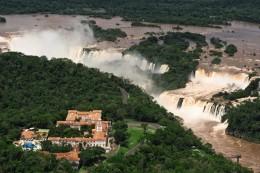 Hotel das Cataratas at the edge of Iguazu Falls, Brazil
