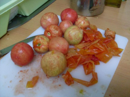 peel tomatoes - save peelings for compost